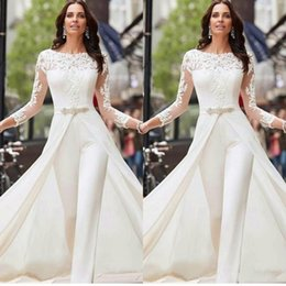 2020 Sexy Long Sleeve White Jumpsuits Evening Dresses Lace Satin With Overskirts Beads Crystals Plus Size Bridal Prom Gowns Pants Dress