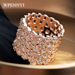 Top Quality Luxury Rose Gold Color Zirconia Crystal Fully Paved Hollow-out Wide Woman Finger Ring Wholesale Party Perfect Gifts