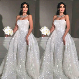 2020 Arabic Glitter Mermaid Wedding Dresses With Detachable Train Strapless Full Sequin Plus Size Overskirt Country Bridal Gowns