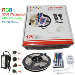 Led Strip Light RGB 5M 5050 SMD 300Led Waterproof IP65 + 44Key Controller + Power Supply Transformer With Box Christmas Gifts Retail Package