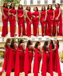 2019 Arabic Cheap Red Mermaid Bridesmaid Dresses One Shoulder Side Split Floor Length Long Wedding Guest Dress Formal Maid of Honor Gowns