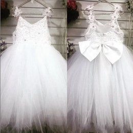 Spring Summer Flower Girl Dresses For Weddings back Bow Beads Tulle Lace Girls Pageant Dresses Kids Formal First Communion Dress