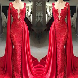 2019 New Red Lace Evening Dresses Sheer Neck with Wrap Formal Party Prom Gowns Arabic Pageant Red Carpet Vedidos