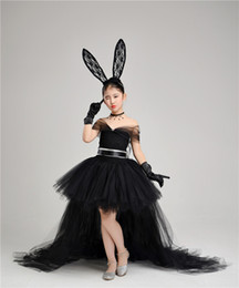 Black Off Shoulder Girls Pageant Dresses With Detachable Skirt Puffy Ball Gown Lace Sash Tulle Little Girl Party Dress Gloves Rabbit Ear