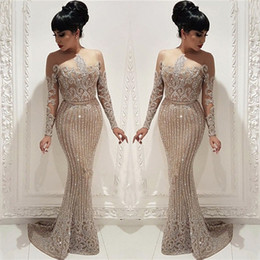 2019 Blingbling Luxury Beading Crystal Prom Evening Dresses Illusion Long Sleeves Mermaid Women Arabic Party Gowns