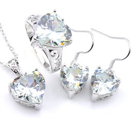 Luckyshine 3Pcs Set Engagement Jewelry Set Heart-shaped White Topaz Crystal Cubic Zirconia Gems Pendant Ring Earring for Women Set free ship