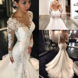Vintage Lace Mermaid Wedding Dresses Arabic Illusion Long Sleeves V Neck Button VBack Sweep Train Bridal Gowns