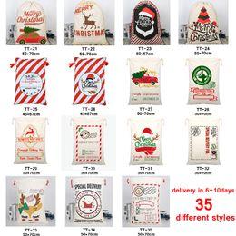 35 STYLES Christmas Gift Bags 2020 new Christmas Bag Drawstring Bag With Reindeers Santa Claus Sack Bags for Santa Sack kid bag