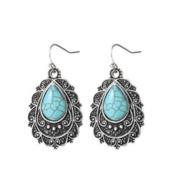 Hot Sale Ear Cuff South American Asian & East Indian Gift Party Wedding 2 Pcs Lot Party Holiday gift Vintage Drop Earrings Turquoise