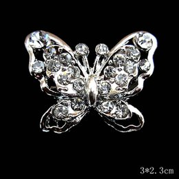 Rhodium Plated Small Butterfly Pin Brooch with Crystals
