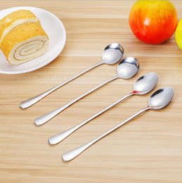 1pc Pointed Round Stainless Steel Coffee Spoon Long Handled Ice Cream Dessert Tea Spoon For Picnic Kitchen Tool Soup Scoop