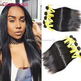 Glamorous Malaysian Human Hair Extensions 6Pcs Brazilian Peruvian Indian Cambodian Filipino Straight Remy Hair Weaves Princess Hair Products
