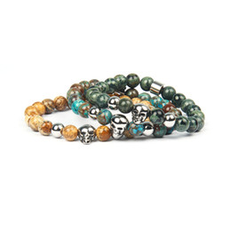 New Classic Stainless Steel Skull Bracelets with 8mm Natural Stone Beaded Bracelet Top Quality Silver Jewelry For Men Gift