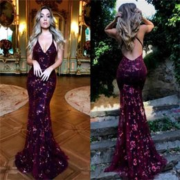 Navy Blue Glitz Lace Sequined Mermaid Prom Dresses 2019 Sexy Deep V Neck Backless Evening Gowns Vestidos De Festa BA9164