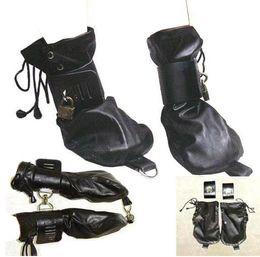 Leather Female Sex Slave Dog Palm Glove Hand Wear SM Bondage Sex Toy Adult Product Pink & black