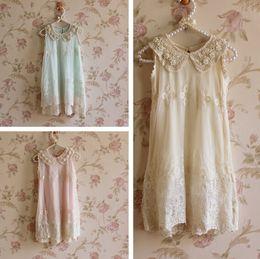 summer girls chiffon lace pearl collar sleeveless Princess Dress girls lace flower dress princess dress girls sleeveless lace dress in stock