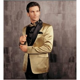 Wholesale-Male Suits Groomsman Tuxedos Men Wedding Suits Gold Fashion New