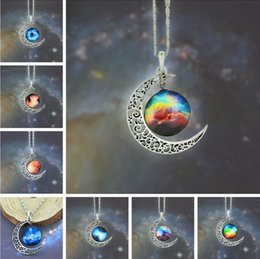 Wholesale chain silver rushed gemstone jewelry pendant ruby colares new vintage starry moon outer space universe necklaces mix models