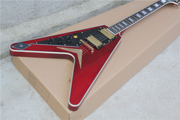 Factory Customzied Unusual Shaped Left-handed Electric Guitar with Claret-red Body and Gold Hardware and Can be Changed