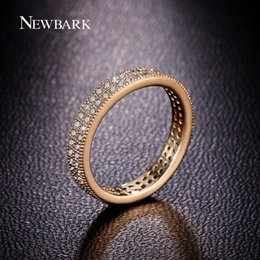 Wholesale-18K Gold Plated Polish round Swiss CZ Diamond Wedding Broad Band Finger Rings For Women