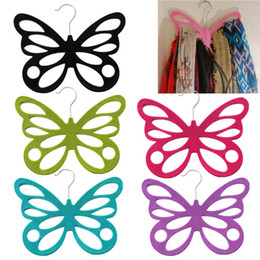 Wholesale 2015 New Multi color Butterfly Scarf Shawl Holder Hanger Hook Clothes Rack For Nonslip Scarf Tie Belt Storage Holder