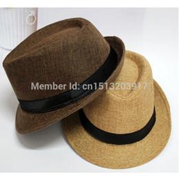 Wholesale-2015 Fashion Fedoras Womens Mens Visor Summer Hats Beach Floppy Sun Linen Hats for Panama Jazz Caps