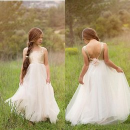 Wholesale Kids White Casual Wedding Dress - Casual 2015 New Tulle And Sequined A Line Flwer Girl Dresses For Kids Jewel Backelss Hand Made Flower Boho Formal Gowns Custom RN9211