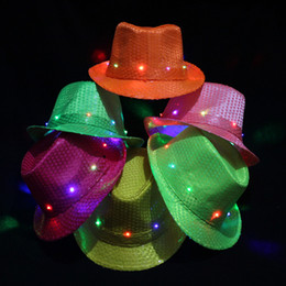 Wholesale WAKE UP Party Festive Products Flashing Sequins Changing Color Christmas Promotion LED Jazz Cap Hat for Kids and Adults