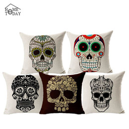 Hot 45cm*45cm Punk Skull Skeleton Printed Cover Pillow Cases Couch Pillows Pillowcase Free Shipping