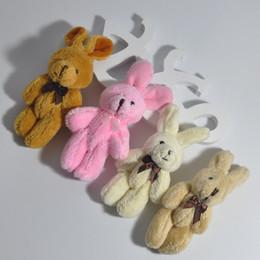 Bulk 11cm Cute rabbit with bow tie bunny joints cartoon bouquet doll plush toy pendant lanyard 40pcs