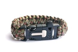 Paracord Bracelet Outdoor Camping Flint Fire Starter Scraper Whistle Gear Survival Paracord Bracelet Rope Self-rescue Kit 4 in 1 Army Cam