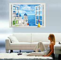 Wholesale 3D windows Lavender Landscape Wall Art Stickers Aegean Sea Wall Decals Kids Bedroom PVC cm Decoration Wall Cherry Tree Art Wallpaper