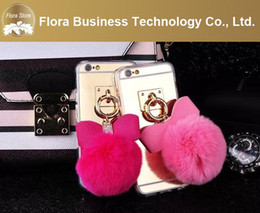 Wholesale 2016 New Design Alum Mirror Back with fur pom butterfly Cell Phone Cases Mobile Cover For iPhone Plus China