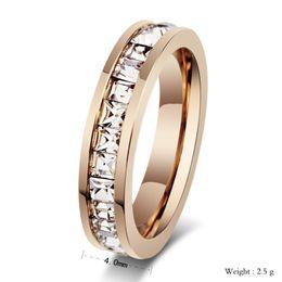 18k rose gold plating Women's ring Super flash single row Square diamond ring Rings for women