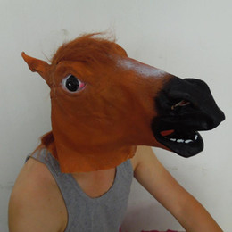 Creepy brown Horse Mask Funny Latex Mask Carnival Animal Costume Halloween Costume Party Christmas Theater Prop on sale