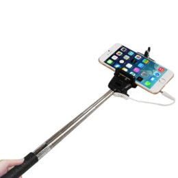 Extendable self wired Selfie Handheld Stick Monopod Built-in Shutter Extendable + Mount Holder For iPhone Samsung Phones Camera