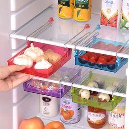 Wholesale Creative twitch type adjustable drawer dividers kitchen supplies ABS stainless steel refrigerator separator layer Storage