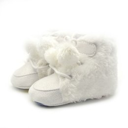 Wholesale Newborn Winter Baby Shoes Laces Up Toddler Snow Boots Soft Sole Plush PrewalkerBaby Shoes