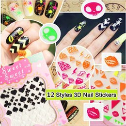 Wholesale 2 Sheets New D Colorful Nail Art Tips Stickers Decal Wraps Acrylic Manicure Decora Nice