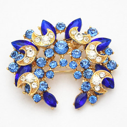 Top Quality Sapphire Flower Bridal Pins Brooches Hot Selling Blue Crystal Diamante Party Broach Cheap Wholesale