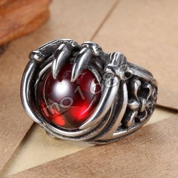 316L 361L Stainless Steel Men Women Gothic Claw Biker Red Gem Ruby Stone Ring Size 7-13