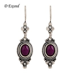 Wholesale Long Drop Earring for Girl Indian Jewelry Ethnic Purple Beaded Brincos Grandes Antique Silver Plated Fashion Nickel Free Earing ER154373