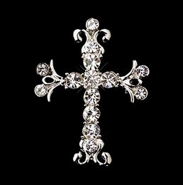 Wholesale 1 Inch Rhodium Silver Plated Clear Rhinestone Diamante Vintage Style Faith Cross Brooch and Pins