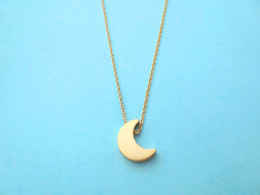 30PCS- N129 Gold Silver Cute Small Half Moon Necklace Simple Crescent Moon Necklace Little Galaxy Moon Necklaces for Ladies Girl