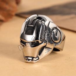 Fashion Woman Man's 316L Stainless Steel Iron Man Ironman Biker Finger Ring Size 7-13 Jewelry