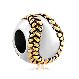 MYD Jewelry Large Hole Metal Sports Bead Sewing Baseball Slider European Loose Charms Fits Pandora Bracelet
