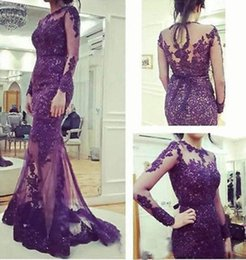 2019 Fashion Long Sleeve Purple Evening Dresses Jewel Neck Hollow Back Beaded Lace Tulle Mermaid Formal Gowns Custom Made