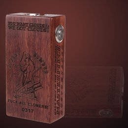 Wood Cherry Bomber Box Mod Clone Dual 18650 Battery Dark Wood and Red Wood Copper Contact Pin Finest Engraving Process DHL Free Shipping