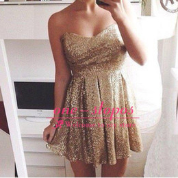 Gold Sequined Sweetheart Mini Cocktail Dress Free Shipping Empire A Line Short Graduation Prom Party Dress