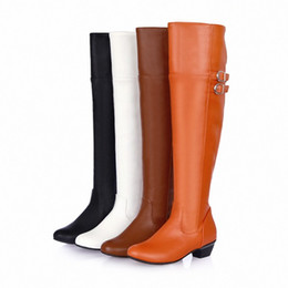 Hot Fashion Ladies' Synthetic Leather Shoes Low Heel Zip Over Knee High Boots All size B008